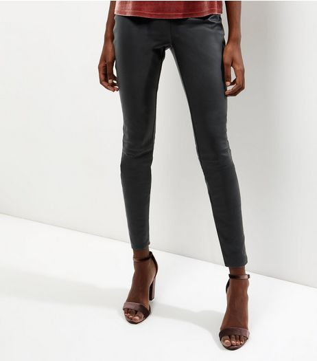 Tall Black High Waisted Leather Look Leggings | New Look