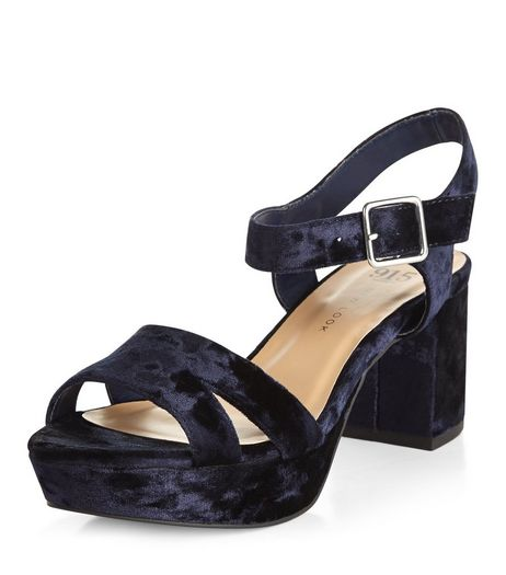 Teens Navy Velvet Ankle Strap Block Heels | New Look