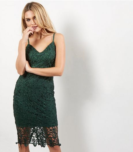 AX Paris Dark Green Crochet Lace V Neck Midi Dress | New Look