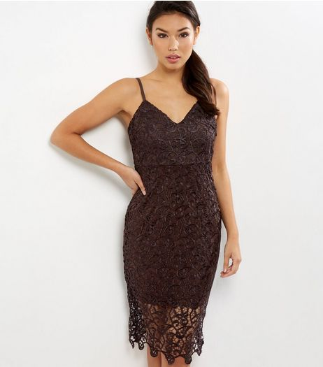 AX Paris Dark Purple Crochet Lace V Neck Midi Dress | New Look