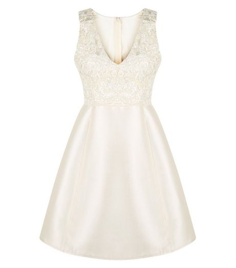 AX Paris Gold Lace Panel Skater Dress | New Look