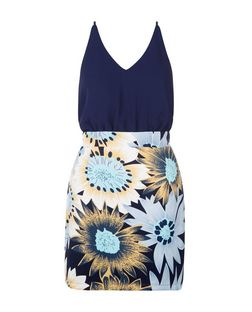 AX Paris Navy Floral Print 2 in 1 Dress | New Look