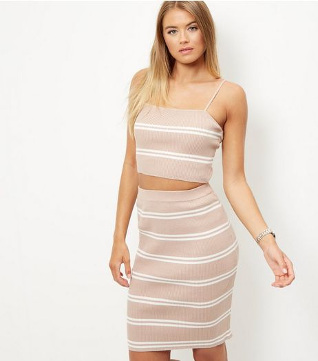 Pink Ribbed Stripe Co-Ord Set  | New Look