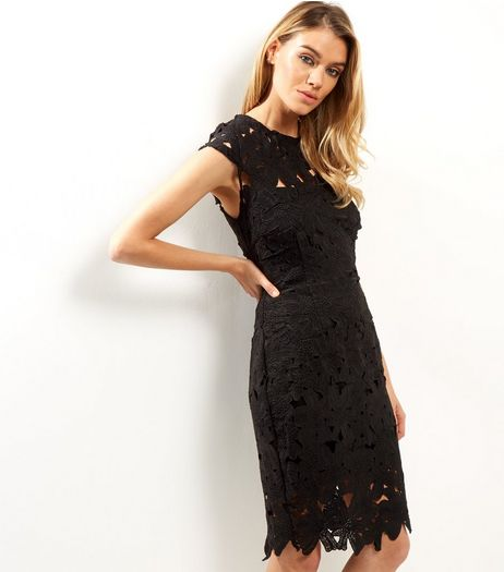 AX Paris Black Crochet Lace Cap Sleeve Midi Dress | New Look