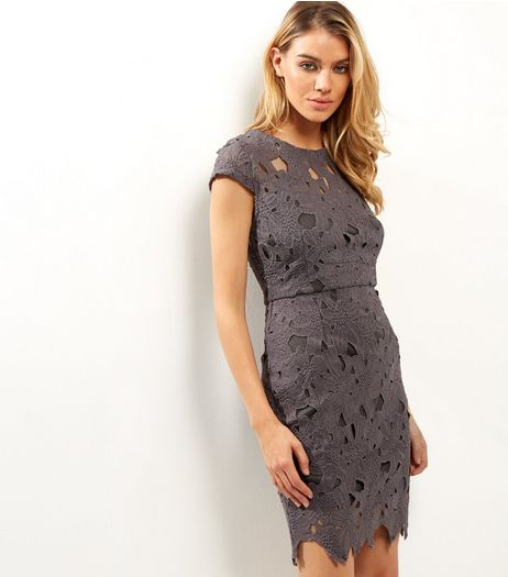 AX Paris Dark Grey Crochet Lace Cap Sleeve Midi Dress | New Look