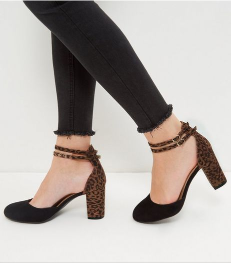 Wide Fit Black Suedette Animal Print Panel Court Shoes  | New Look
