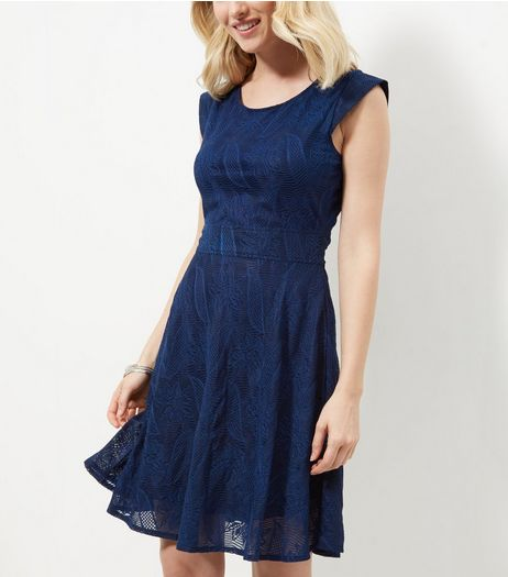 Mela Navy Lace Tie Back Mini Dress  | New Look