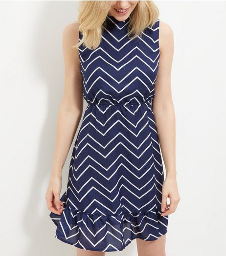 Mela Blue Zig Zag Print Frill Hem Sleeveless Dress  | New Look