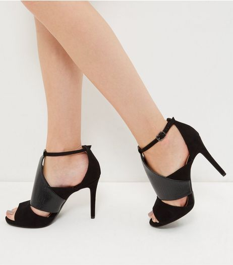 Wide Fit Black Suedette Contrast Cut Out High Heels  | New Look