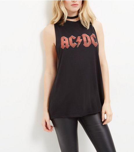 Black AC DC Tank Top | New Look