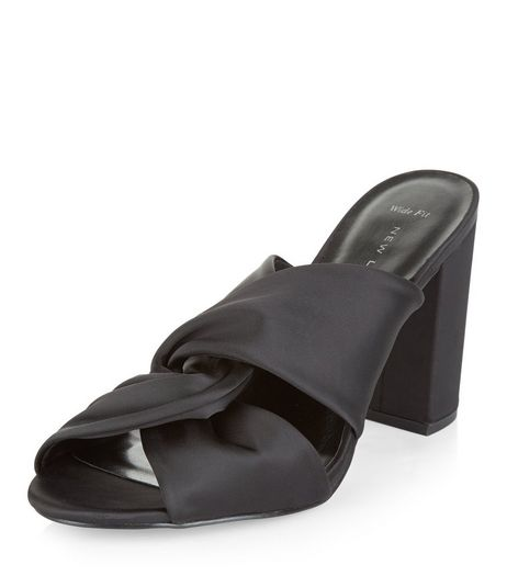 Wide Fit Black Sateen Twist Mules | New Look