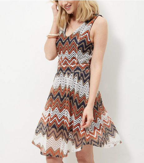Mela Brown Zig Zag Stripe Skater Dress  | New Look