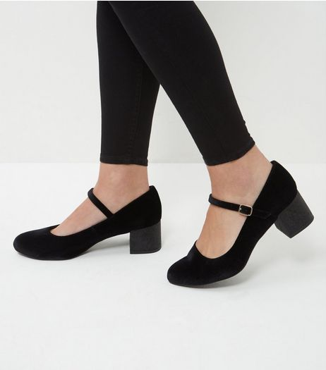 Wide Fit Black Velvet Glitter Block Heels  | New Look