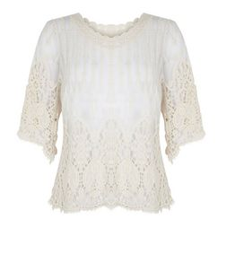 Blue Vanilla Cream Crochet Lace Top | New Look