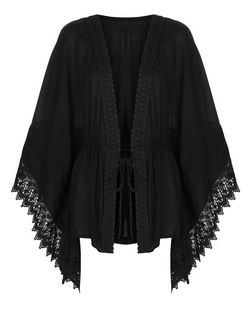 Blue Vanilla Black Crochet Trim Kaftan | New Look