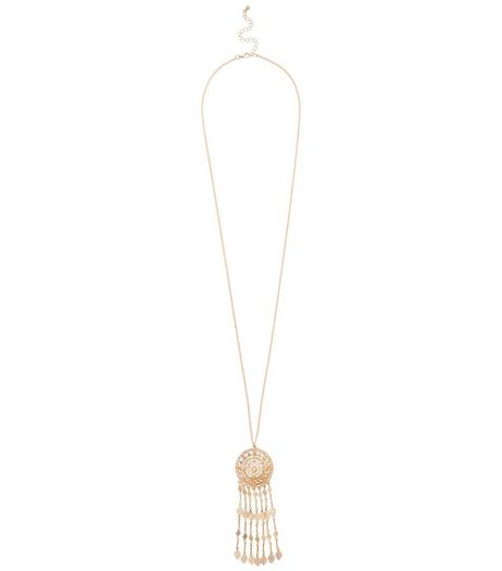 Gold Filigree Dreamcatcher Drop Necklace | New Look
