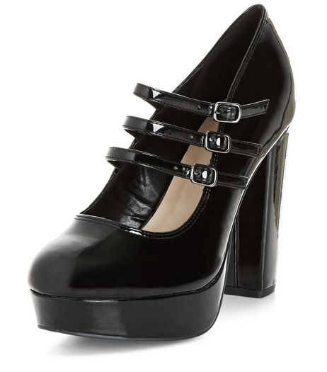 Wide Fit Black Patent Multi Strap Block Heels  | New Look