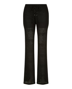 Blue Vanilla Black Lace Up Flared Trousers | New Look