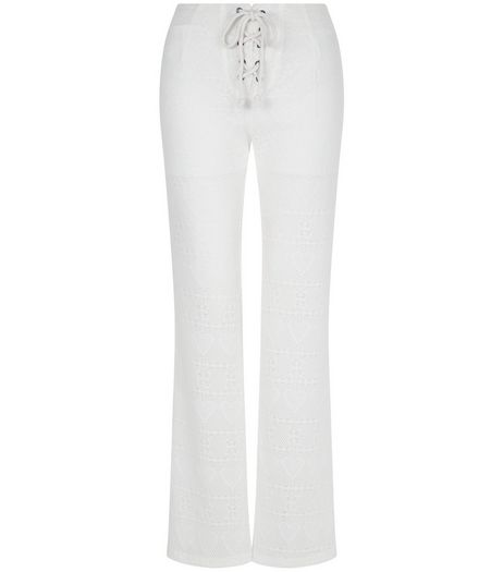 Blue Vanilla Cream Lace Up Flared Trousers | New Look