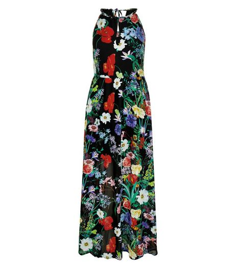 Blue Vanilla Black Floral Print Maxi Dress | New Look