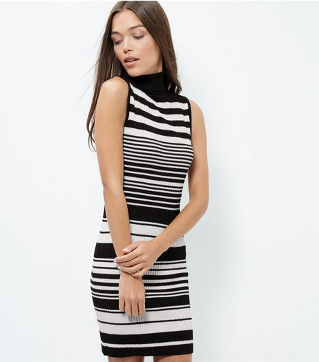 Blue Vanilla Black Stripe Turtle Neck Dress | New Look