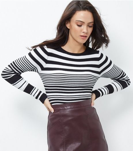 Blue Vanilla Stripe Ribbed Crew Neck Top | New Look