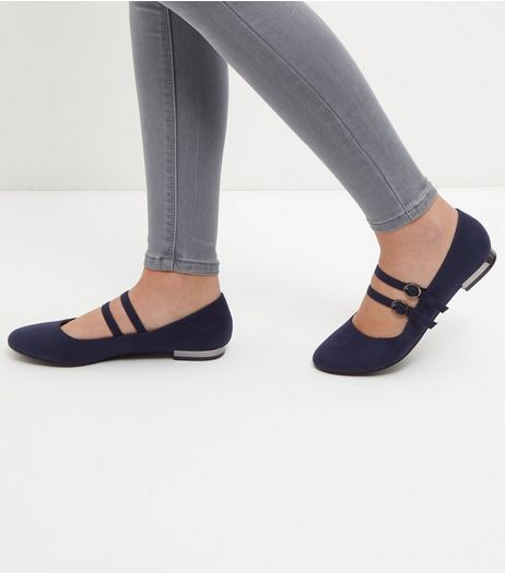 Navy Double Strapy Metal Trim Pumps  | New Look
