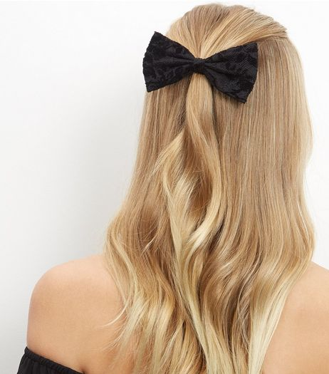 Black Lace Bow Hair Clip | New Look