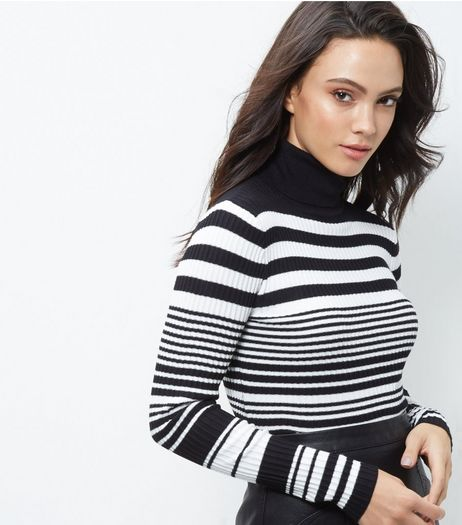 Blue Vanilla Black Stripe Ribbed Turtle Neck Top | New Look
