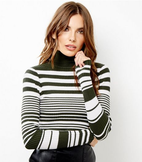 Blue Vanilla Green Stripe Ribbed Turtle Neck Top | New Look