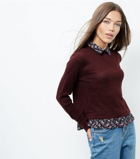 Blue Vanilla Dark Red 2 in 1 Jumper  | New Look