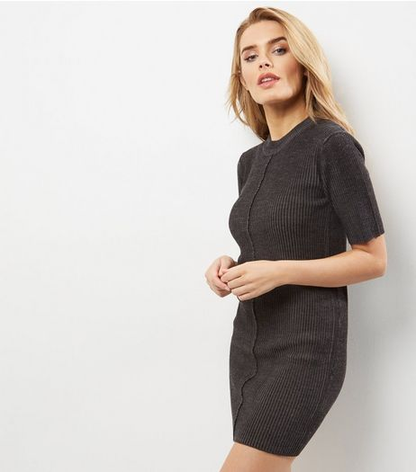 Blue Vanilla Dark Grey Crew Neck Short Sleeve Dress | New Look