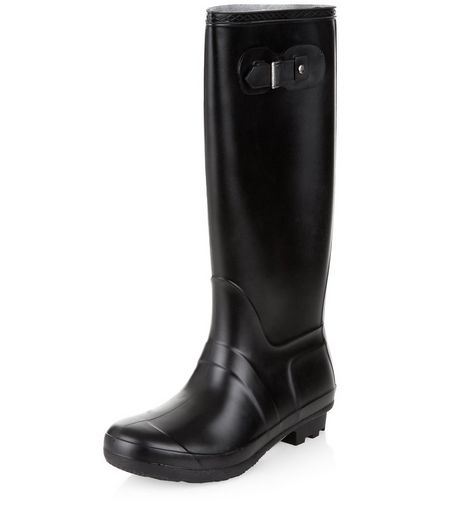 Black Knee High Wellies  | New Look