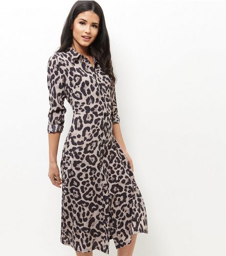 Mela Brown Leopard Print Maxi Shirt Dress | New Look