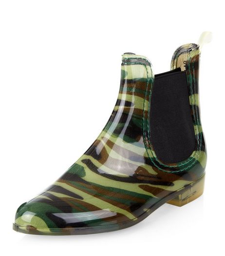 Green Camo Print Chelsea Wellies  | New Look