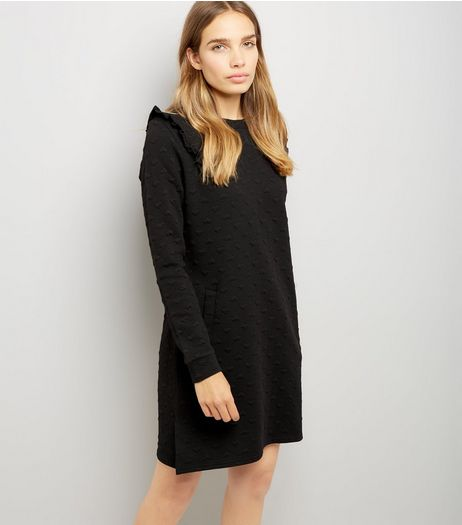 Blue Vanilla Black Heart Ruffle Shoulder Sweater Dress | New Look