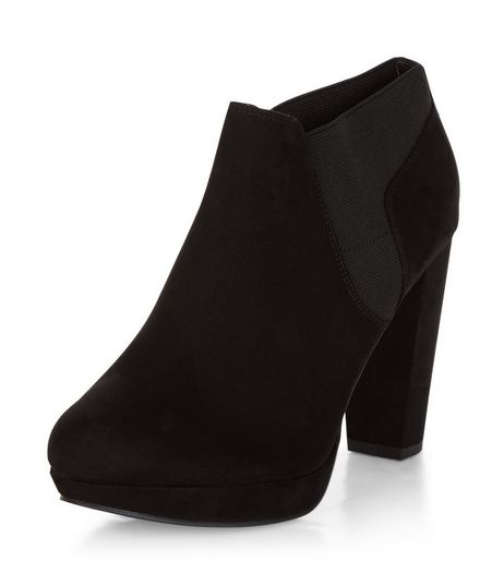Wide Fit Black Comfort Suedette Shoe Boots  | New Look