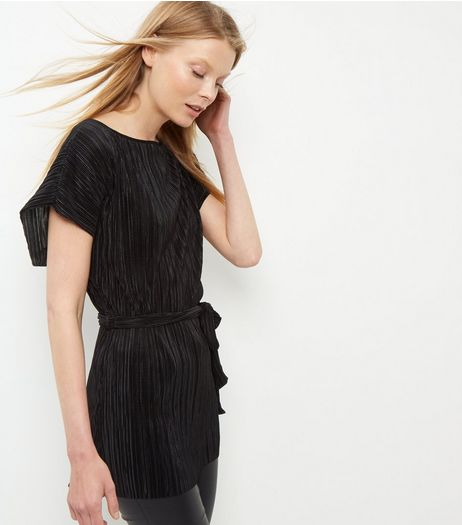 Black Pleated Tie Waist Top  | New Look