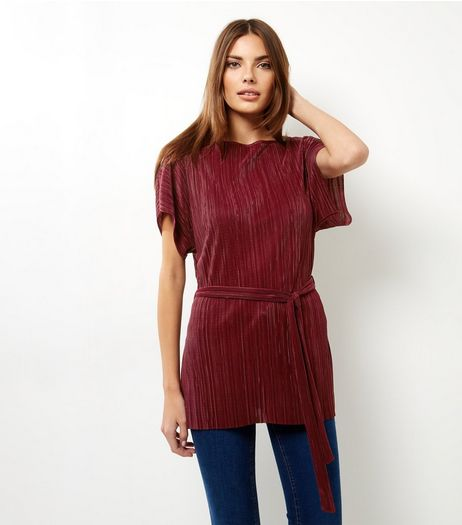 Burgundy Pleated Tie Waist Tunic | New Look