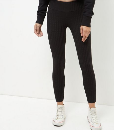 Black Ribbed Leggings  | New Look