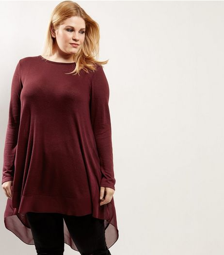 Curves Burgundy Chiffon Trim Longline Top | New Look