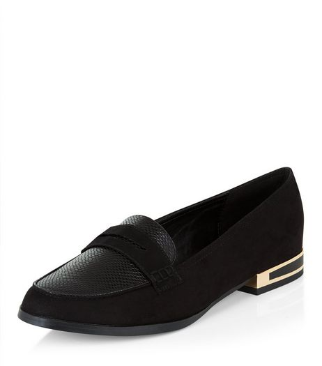 Wide Fit Black Suedette Metal Trim Loafers  | New Look