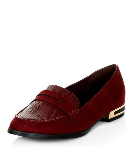 Wide Fit Dark Red Suedette Metal Trim Loafers  | New Look