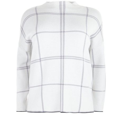 Curves White Check High Neck Jumper | New Look