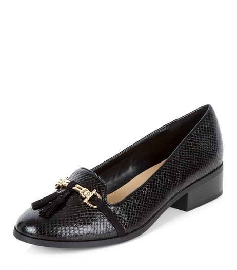 Wide Fit Black Croc Texture Tassel Trim Loafers  | New Look
