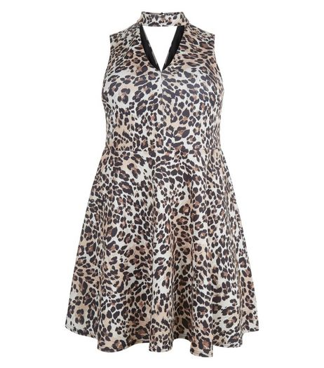 Curves Brown Animal Print Cut Out Skater Dress | New Look
