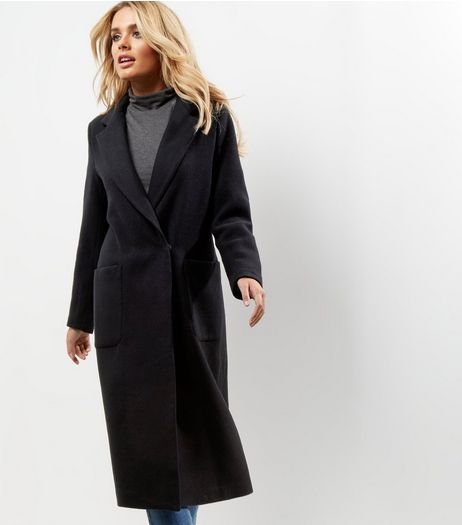 Black Double Pocket Maxi Coat | New Look