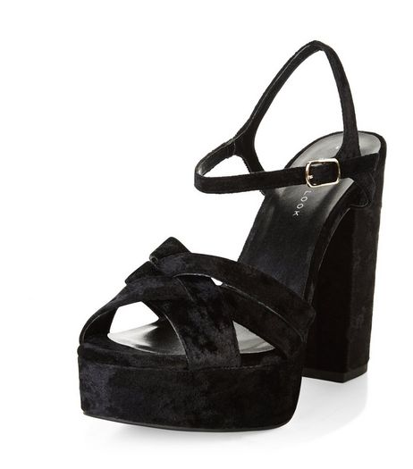 Wide Fit Black Velvet Cross Strap Block Heels  | New Look