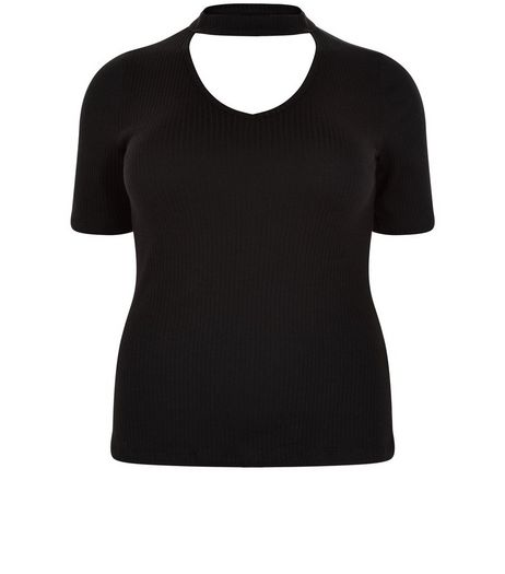 Curves Black Cut Out Knitted Top | New Look