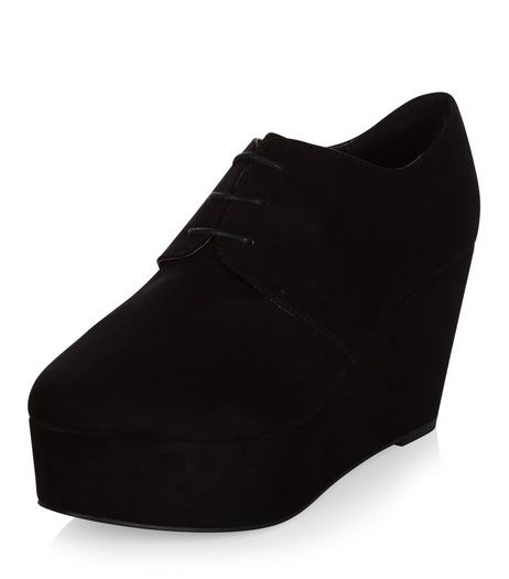 Black Suedette Lace Up Plaform Wedges  | New Look